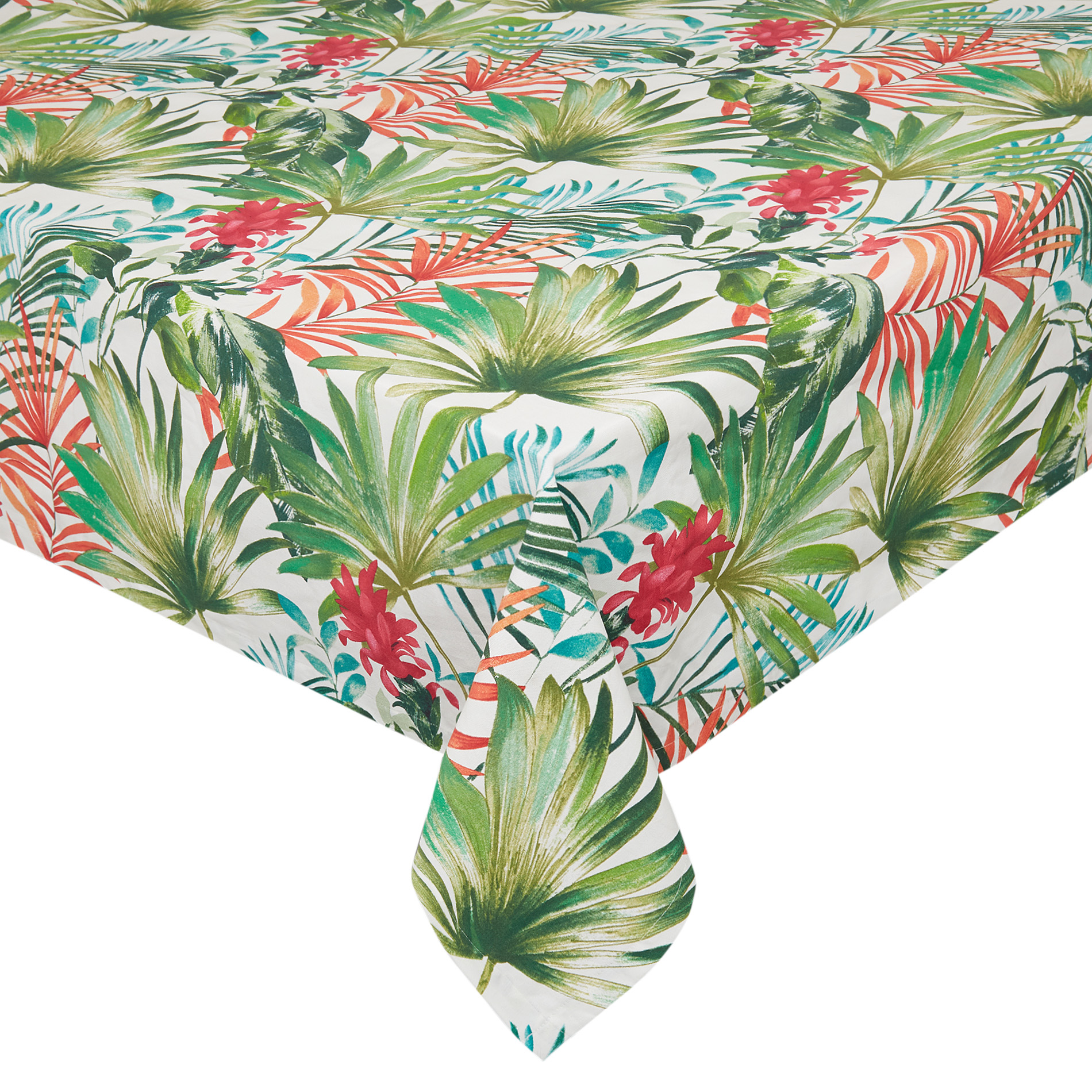 100 Cotton Tablecloth With Tropical Leaf Print Coincasa