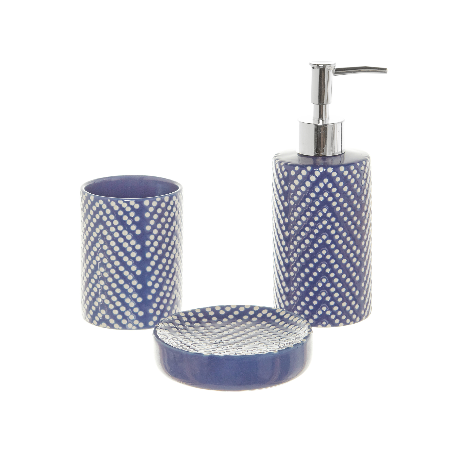 Set accessori bagno in ceramica a pois coincasa - Accessori bagno in ceramica ...