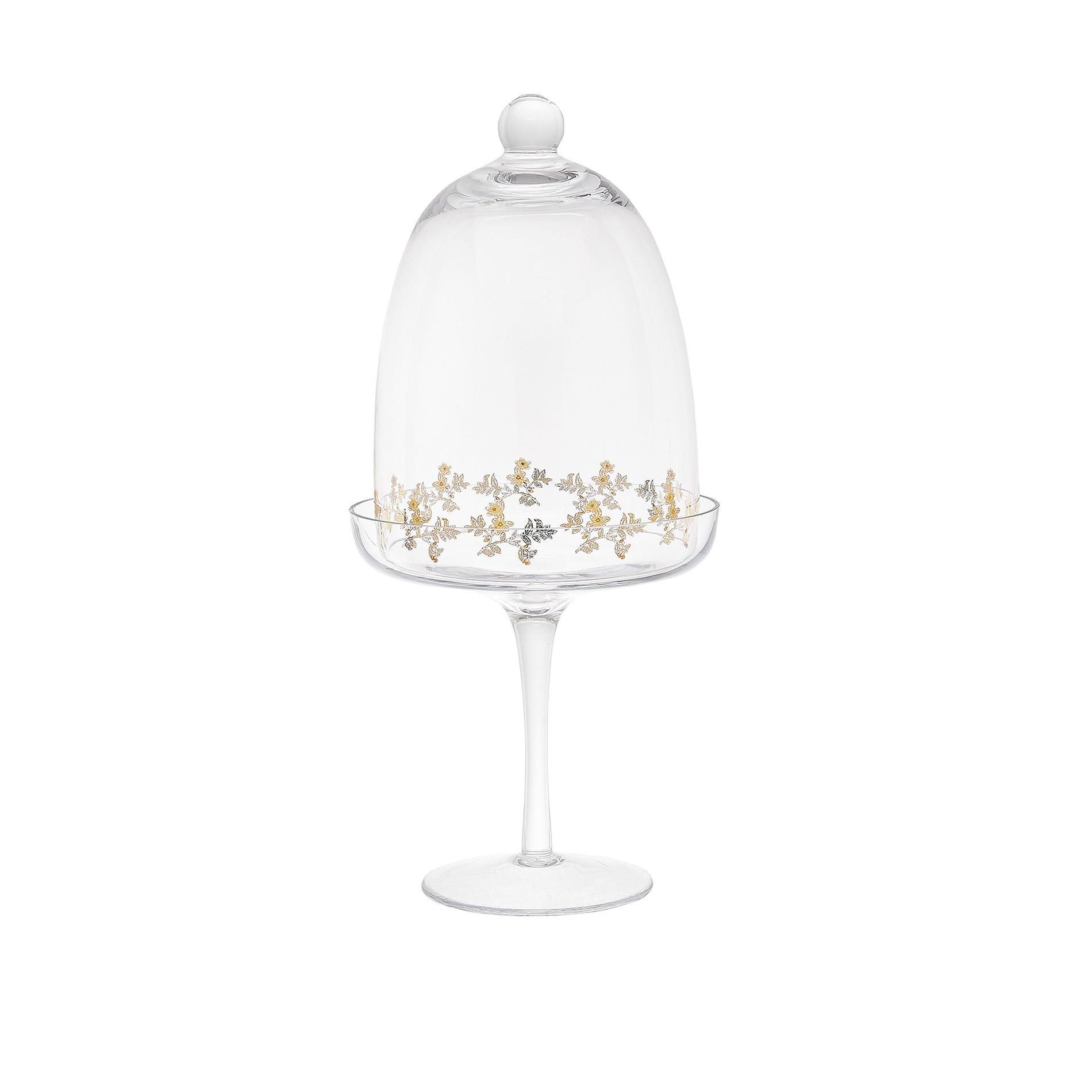 Alzatina in vetro con decoro oro - coincasa