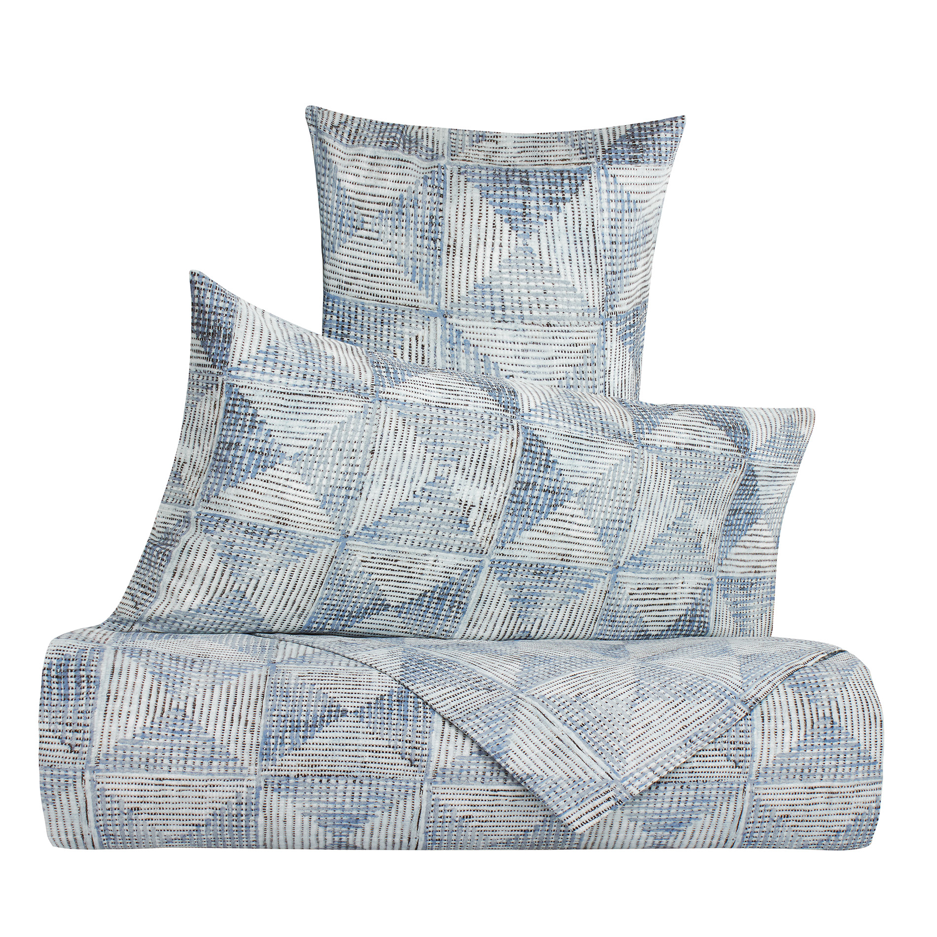Duvet Cover In 100 Cotton Percale With Geometric Pattern Coincasa