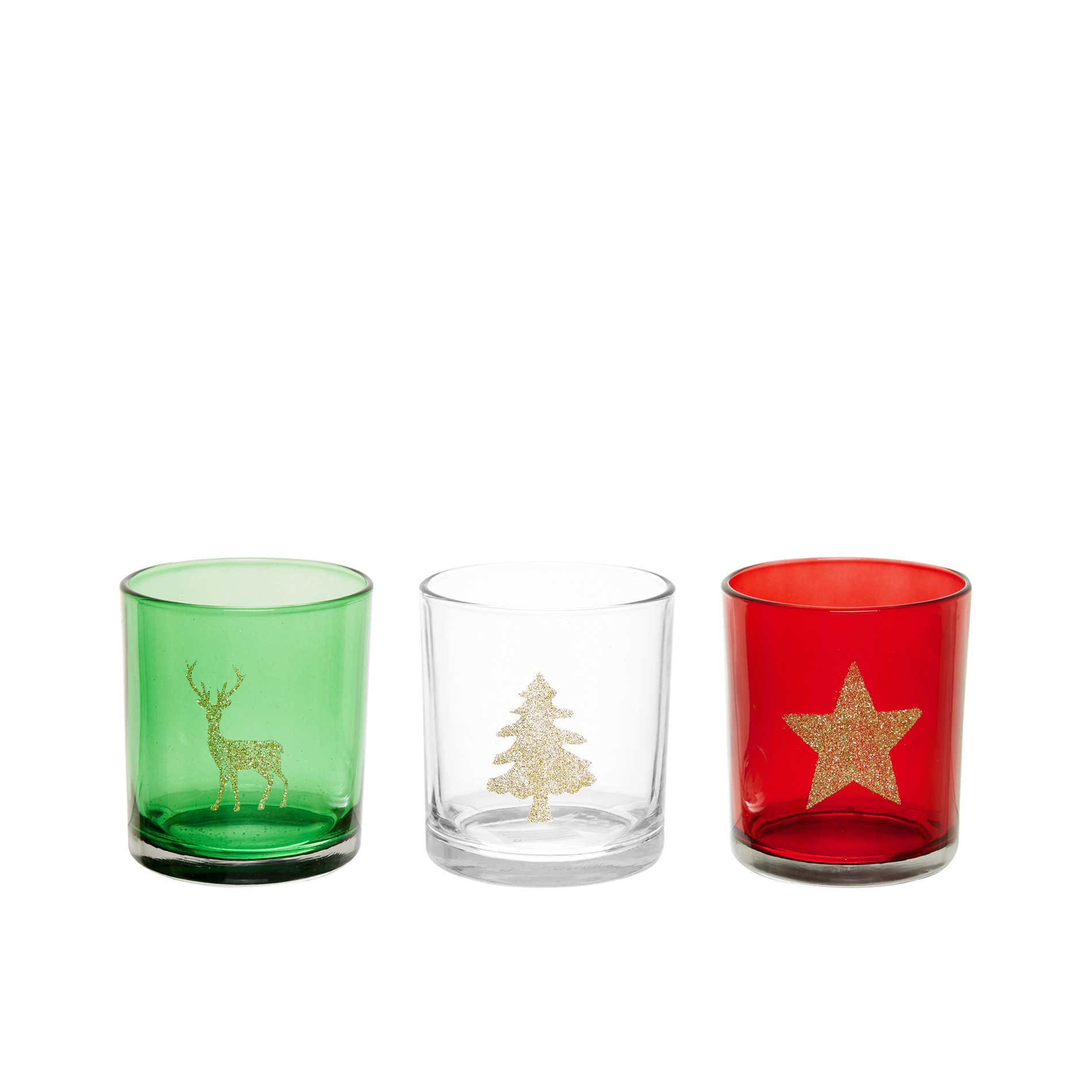 Glass Votive Candle Holder With Glitter Decoration Coincasa