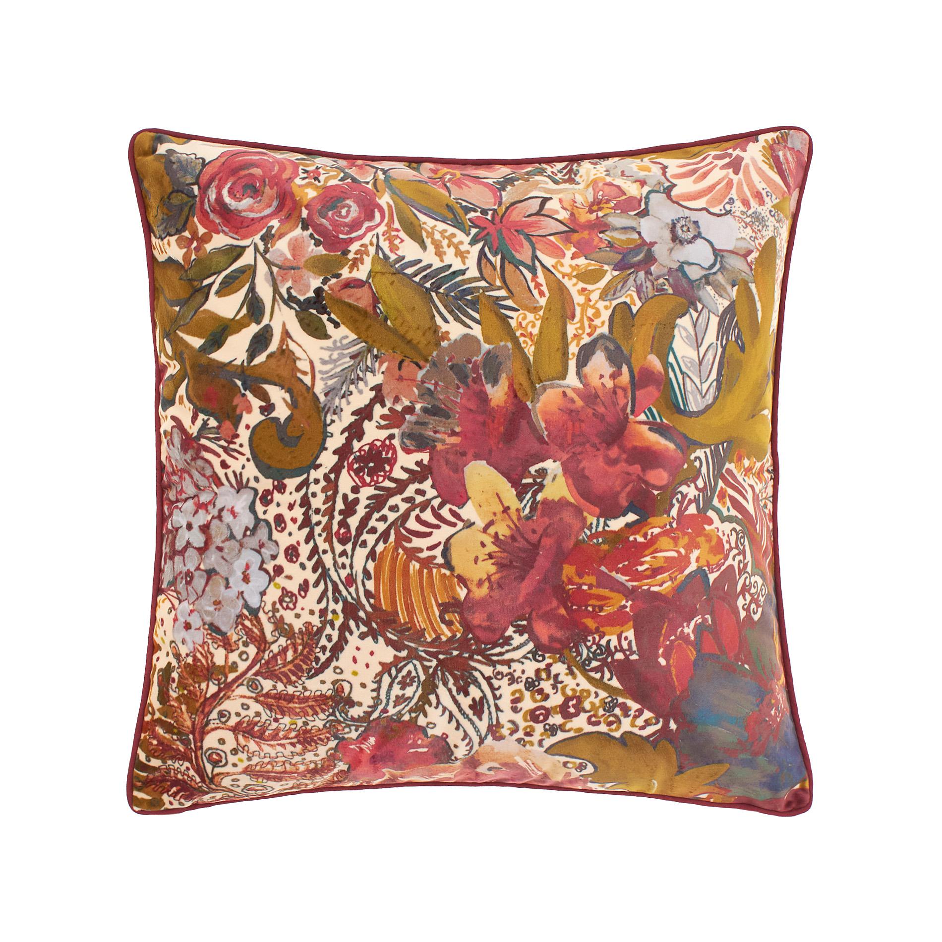 Cuscini Coin.Velvet Cushion With Flowers And Undergrowth Coincasa