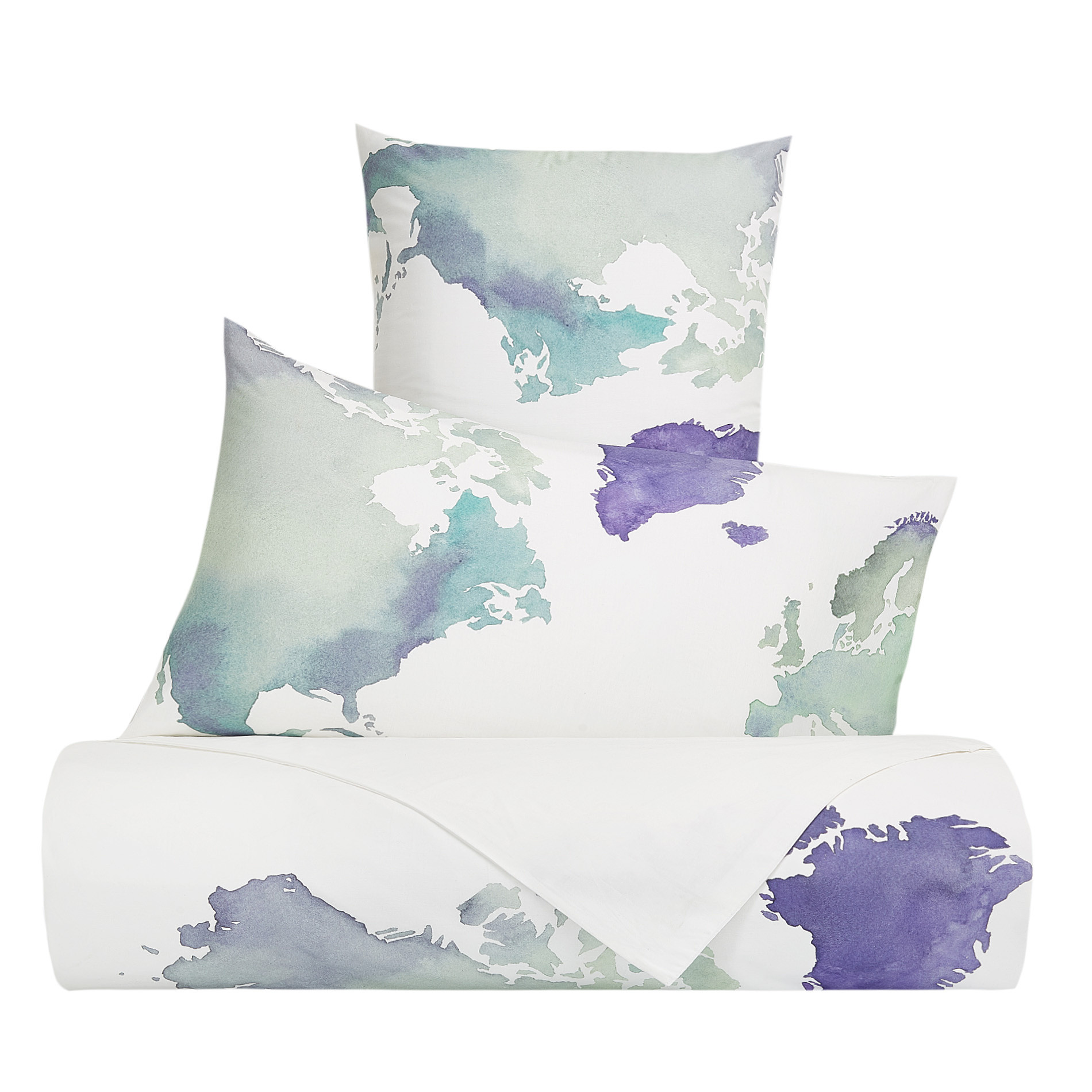 Copripiumino Coin.Duvet Cover Set In Cotton Percale With World Pattern Coincasa